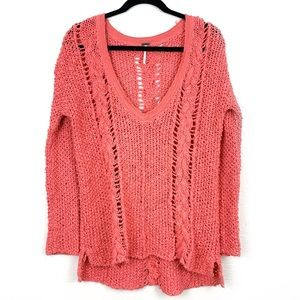 FREE PEOPLE Coral Loose Cable Knit V-Neck Sweater